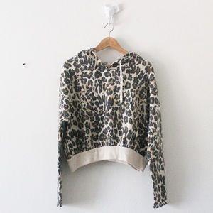 NWT BP Leopard Print Long Sleeve Crop Hoodie 1913